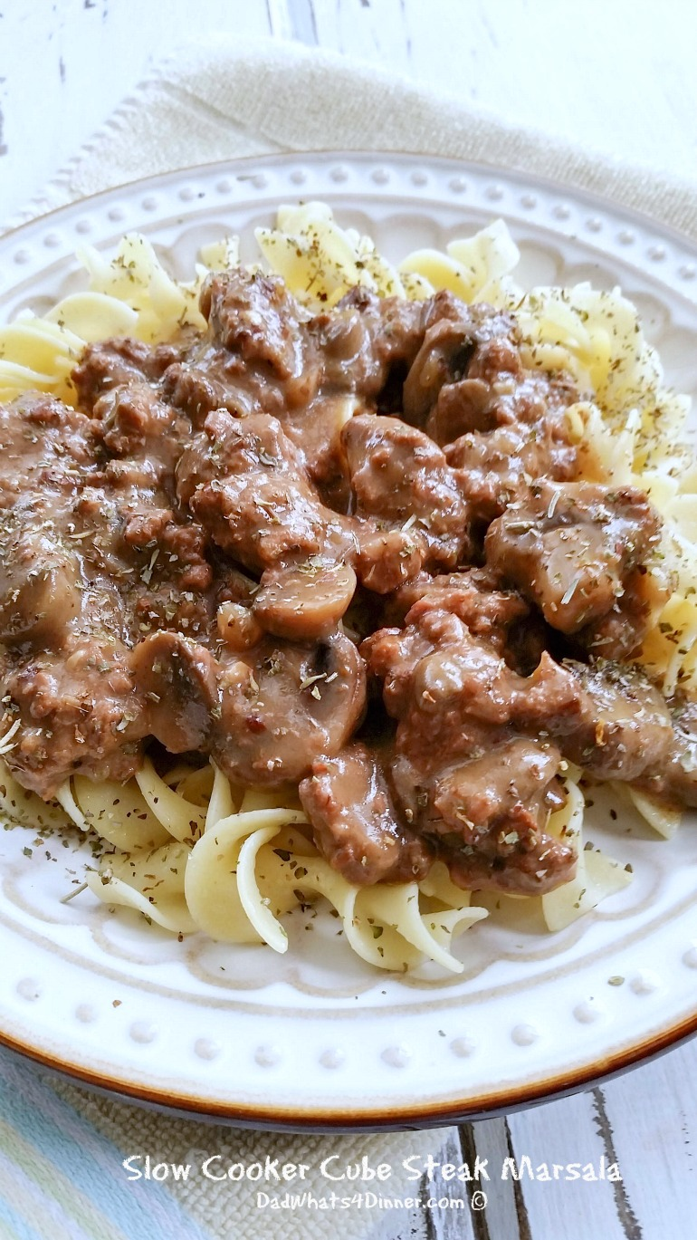 You are going to love the rich earthy flavors of my Slow Cooker Cube Steak Marsala! Cheap and simple family meals.