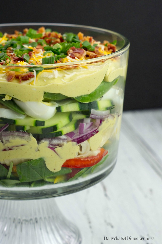 Creamy Layered Pasta Salad with Deviled Egg Dressing