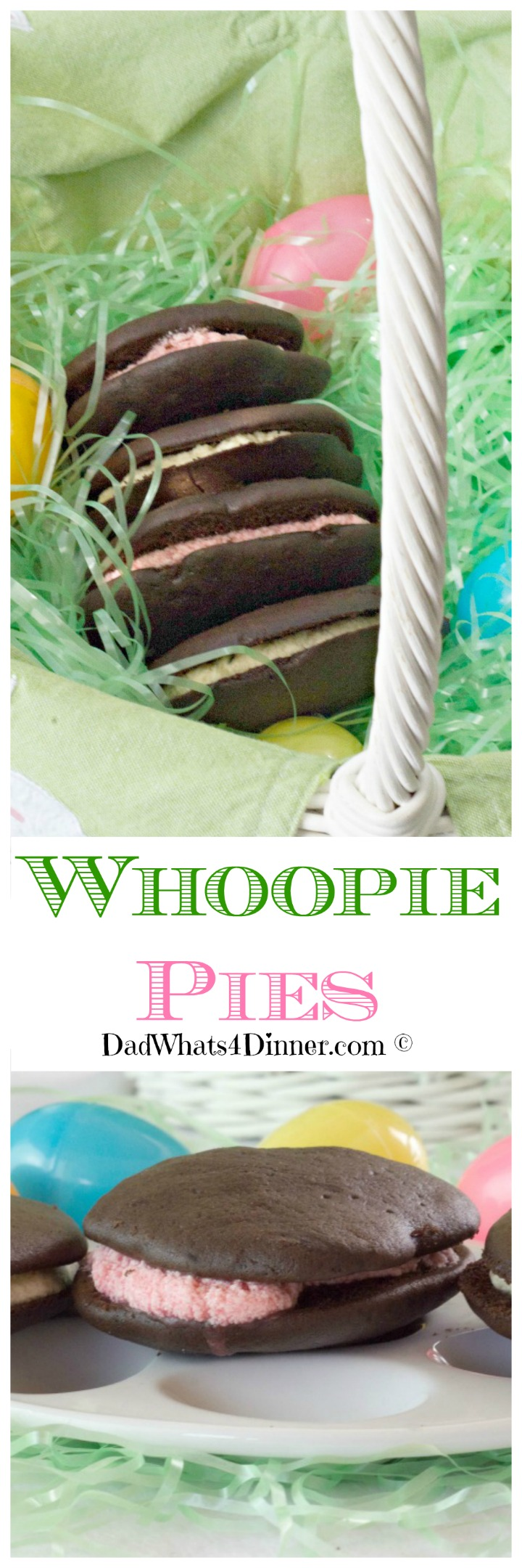 If you are looking for an alternative to store-bought Easter candy, these Whoopie Pies would be the perfect treat from the