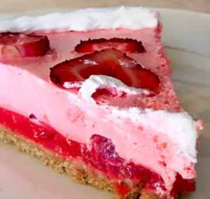 Creamy Dreamy No-Bake Strawberry Milkshake Pie is a simple no bake pie that is perfect for summer. Cool sweet and delicious.