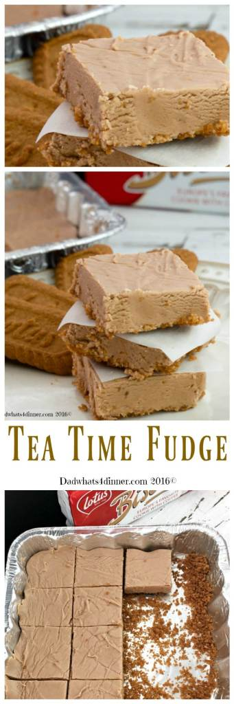 Tea Time Fudge combines a few of my favorite things. Peanut Butter, Chocolate and Bischoff Cookies to make a melt in your mouth, one of a kind fudge.