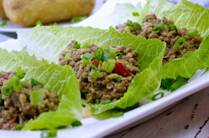 Slow Cooker Ground Turkey Asian Lettuce Wraps