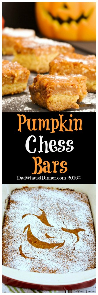 Pumpkin Chess Bars will be your go to dessert bars for Thanksgiving. Gooey and creamy with a nice crust! Perfect for those who might not like pumpkin pie.