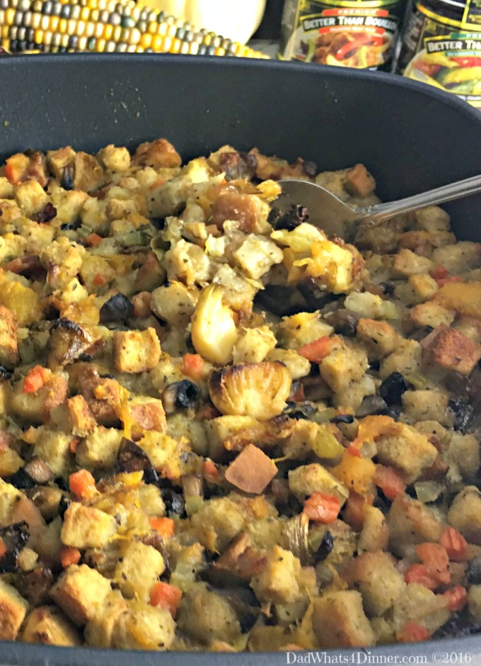 Roasted Brussels Sprouts and Butternut Squash Bread Stuffing