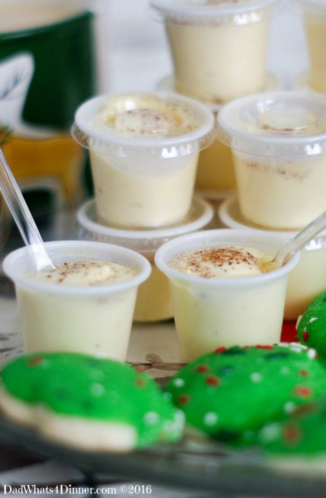 Santa doesn't want milk and cookies this year he wants my Eggnog Pudding Shots. The classic Holiday drink transformed into a creamy adult treat.