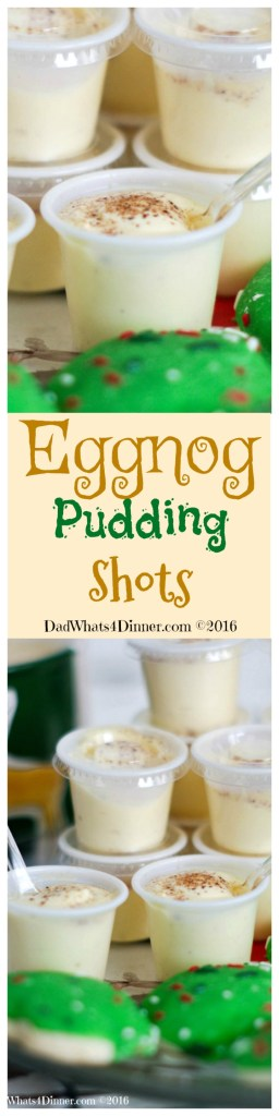 Santa doesn't want milk and cookies this year he wants my Eggnog Pudding Shots. The classic Holiday drink transformed into a creamy adult treat with the hint of ruin and spice.