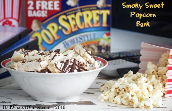 My Smoky Sweet Popcorn Bark is the perfect accompaniment to a big bowl of Pop Secret popcorn and the chance to enjoy a movie with my teenage daughter.