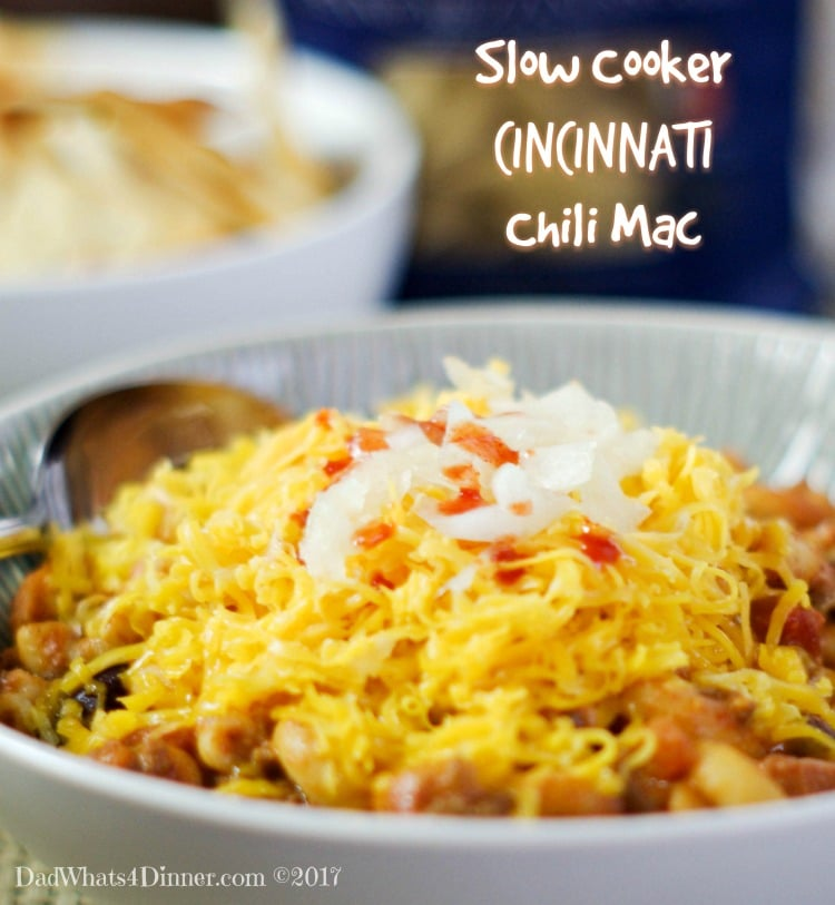 Slow Cooker Cincinnati Chili Mac is comfort food at its finest. Slow Cooked Chili with a Cincinnati flair! Throw in some pasta and cheese and you are set.