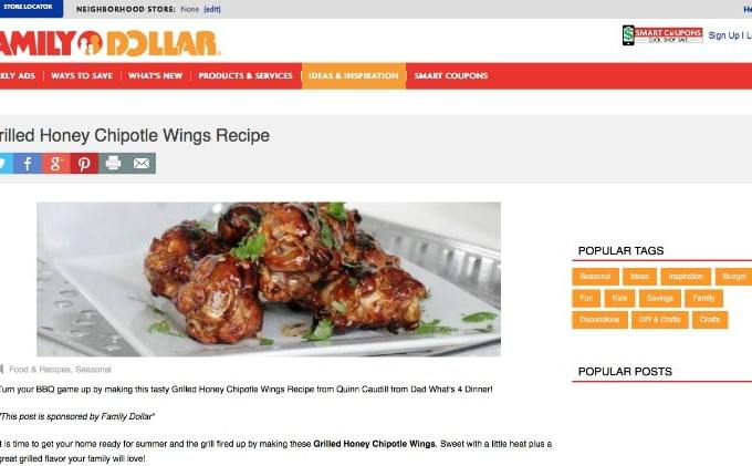 Honey Chipotle Wings featured on Family Dollar
