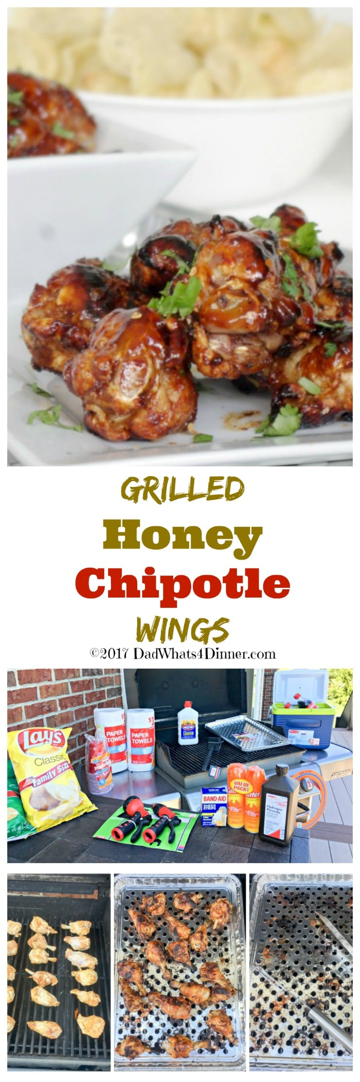 It is time to get your home ready for summer and keep the grill fired up by making these Grilled Honey Chipotle Wings. Sweet with a little heat! #ad @familydollar #Barbeque #BBQ #Grilling #Food #Summer #delicious www.dadwhats4dinner.com