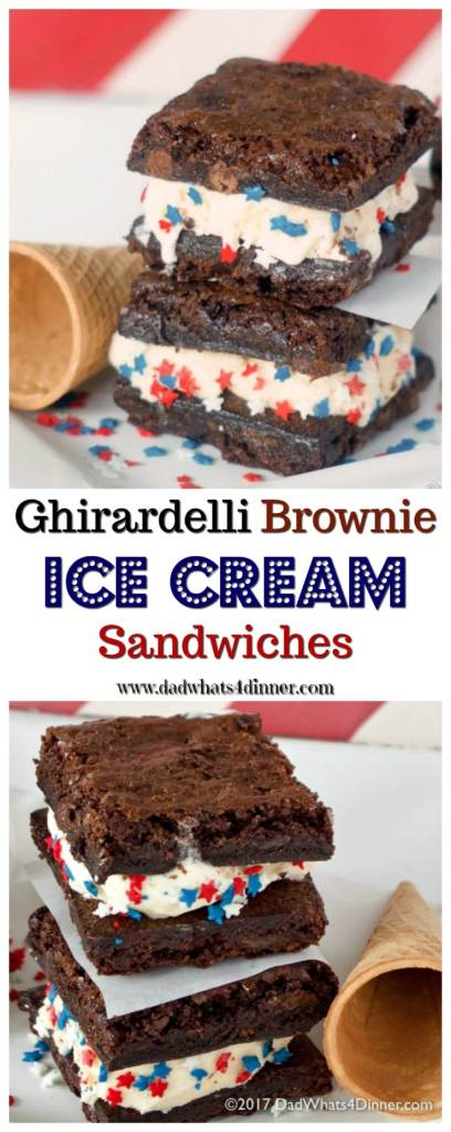 These Ghirardelli Brownie Ice Cream Sandwiches is the perfect treat for summer. Decadent triple chocolate brownies stuffed with cool vanilla ice cream! www.dadwhats4dinner.com