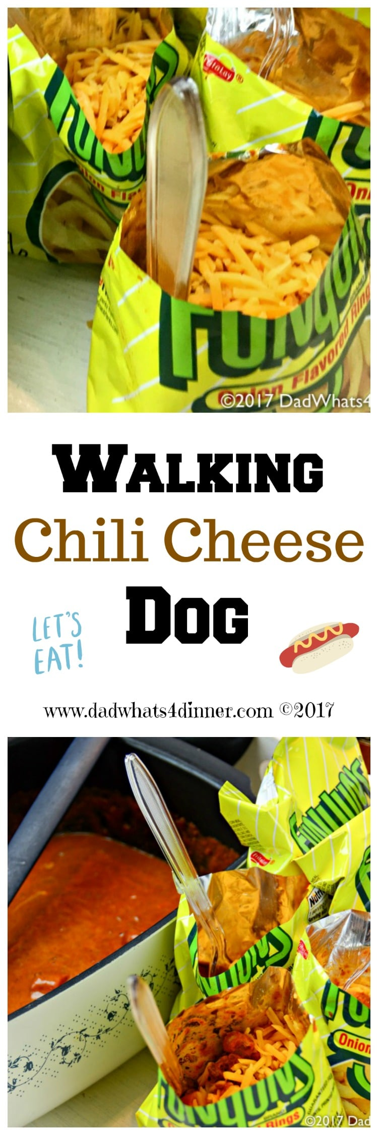 You will be the star at your next tailgate with this easy to make Walking Chili Cheese Dog recipe. All the great Cheese Coney flavor, but no bun needed! #ad @myfamilydollar www.dadwhats4dinner.com #tailgatefood