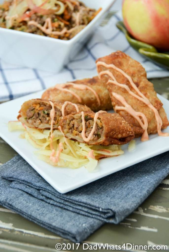 You will get addicted to my Apple Crack Slaw Egg Rolls with Creamy Sriracha Sauce! Destined to be your new favorite fall appetizer or dinner.