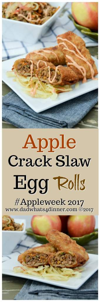 You will get addicted to my Apple Crack Slaw Egg Rolls with Creamy Sriracha Sauce! Destined to be your new favorite fall appetizer or dinner. #AppleWeek www.dadwhats4dinner.com
