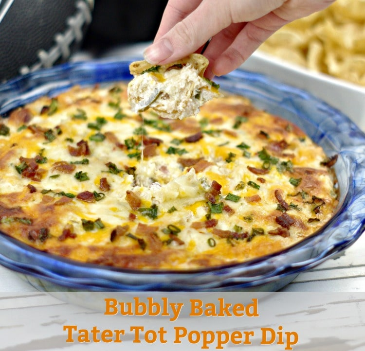 Bubbly Baked Tater Tot Popper Dip is a mash-up of two of my favorites, tater tots, and jalapeno popper dip. Perfect for tailgating or family game night.