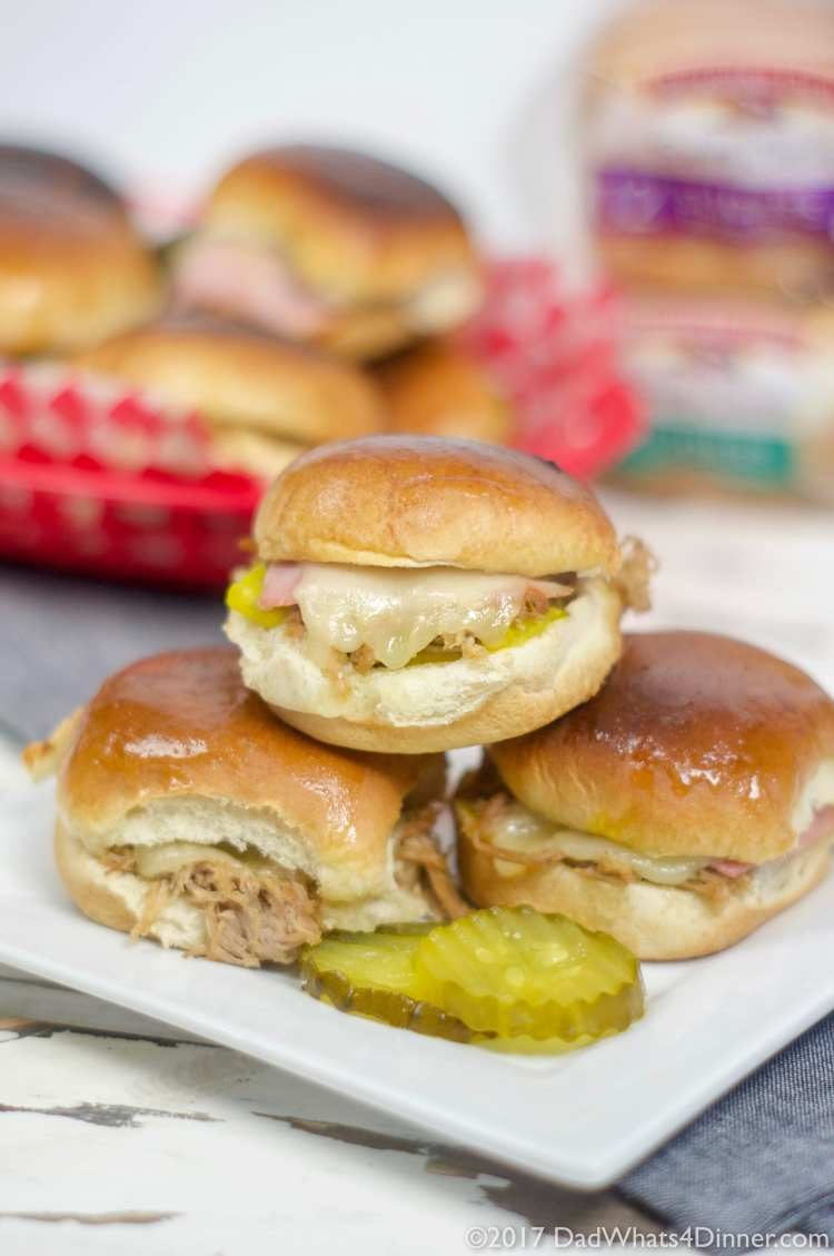 When you want a change from the ordinary hamburger slider,try these Instant Pot Cuban Sliders, sure to be a game day winner. All the flavor of a great Cuban including fall off the bone pork shoulder, ham, swiss cheese, pickles, mustard, on a Pepperidge Farm® soft slider bun.