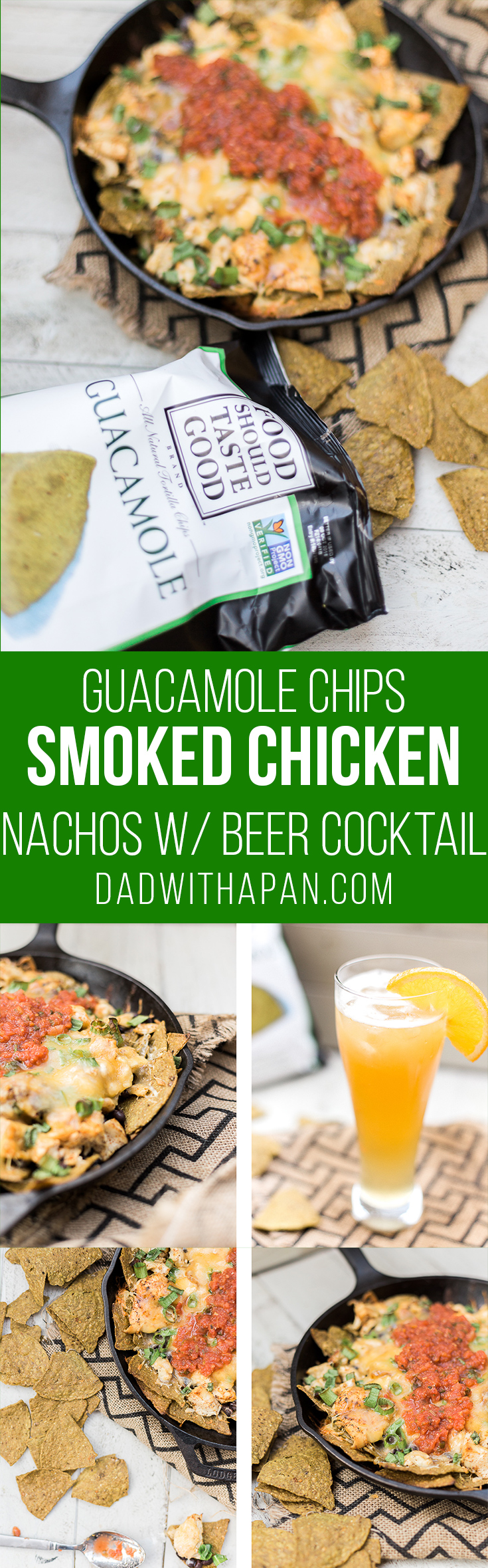 Smoked Chicken Nachos On Tortilla Chips! paire with an Orange Ginger Beer Cocktail! #nachos #smoked #beer