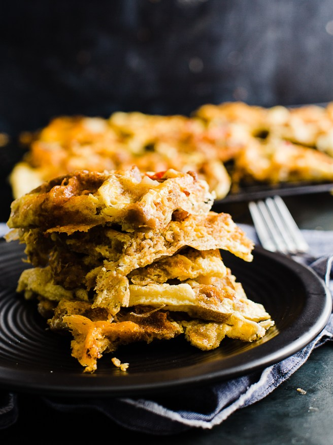 Frittata Waffles cooked with thanksgiving leftovers. This is an awesome way to make an easy breakfast the day after thanksgiving!