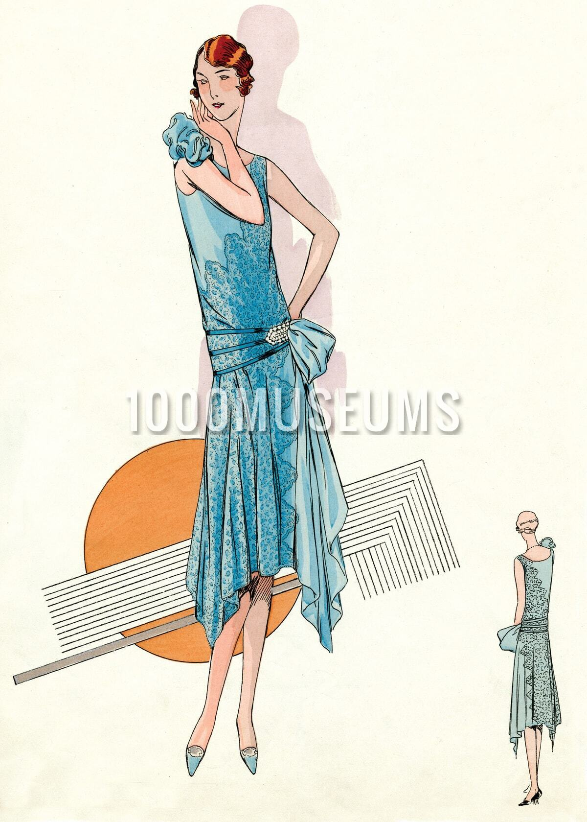 Jazz Age Fashion Blue Lace Gown Of The S