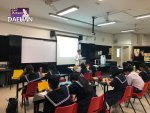 Deahan Korean Teacher Ku Ha Ra, Jun and Woodgrove Secondary Students had just started Basic course of Korean Language Course on 23 July