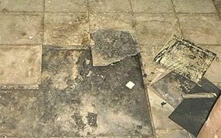 Removal of asbestos from floor tiles