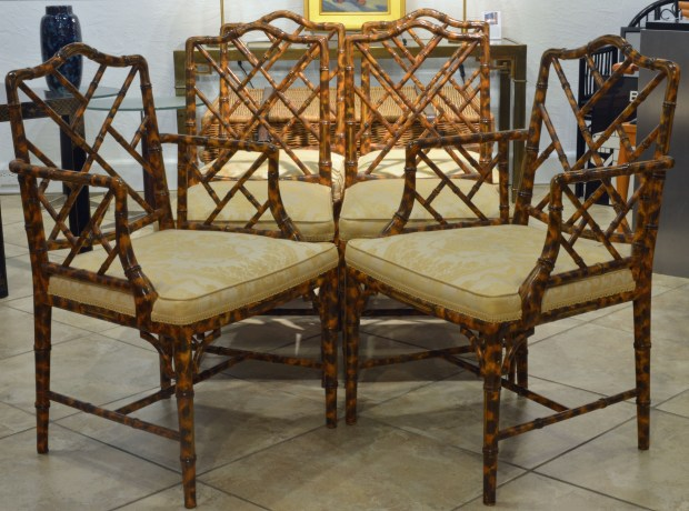 A Set of 6 Palm Beach and Chippendale Style Faux Bamboo ...