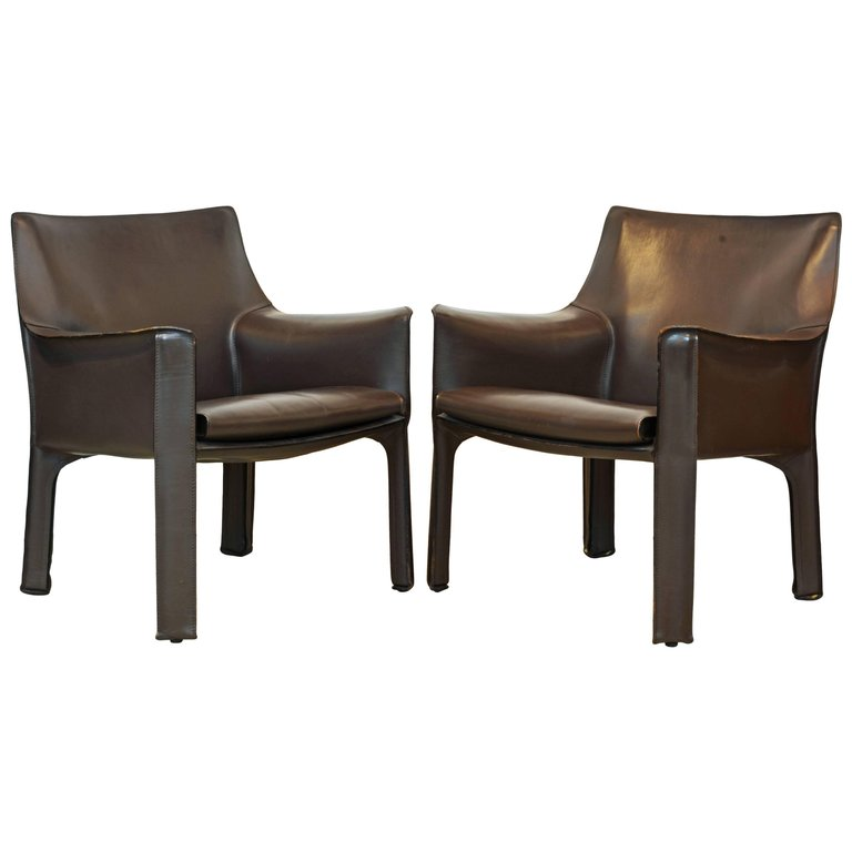 Pair Of Mario Bellini Design Leather Cab Lounge Chairs By Cassina, Italy