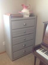 "Tall boy dresser - Annie Sloan Chalk Paint ""Paris Gray"" with bin pulls and two knobs."