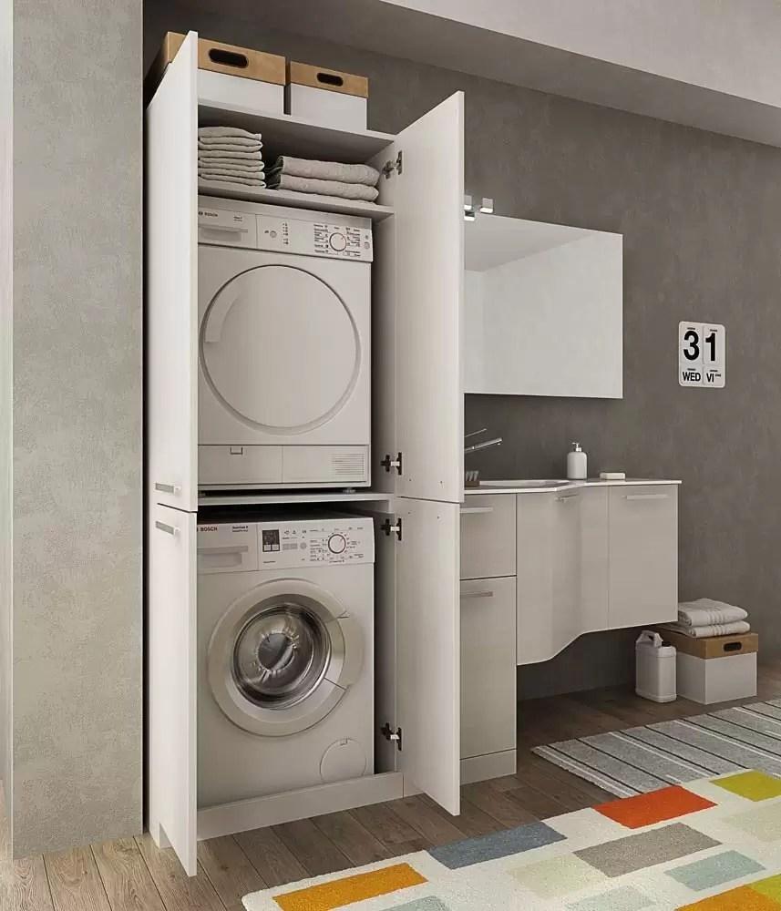 Mobile Bagno Con Colonna Lavatrice mobile lavanderia porta lavatrice e cesti bucato - misura: l.206 p.62/35 cm  finitura: rovere tranche' bianco top: top lavabo in ocritech - 100% made