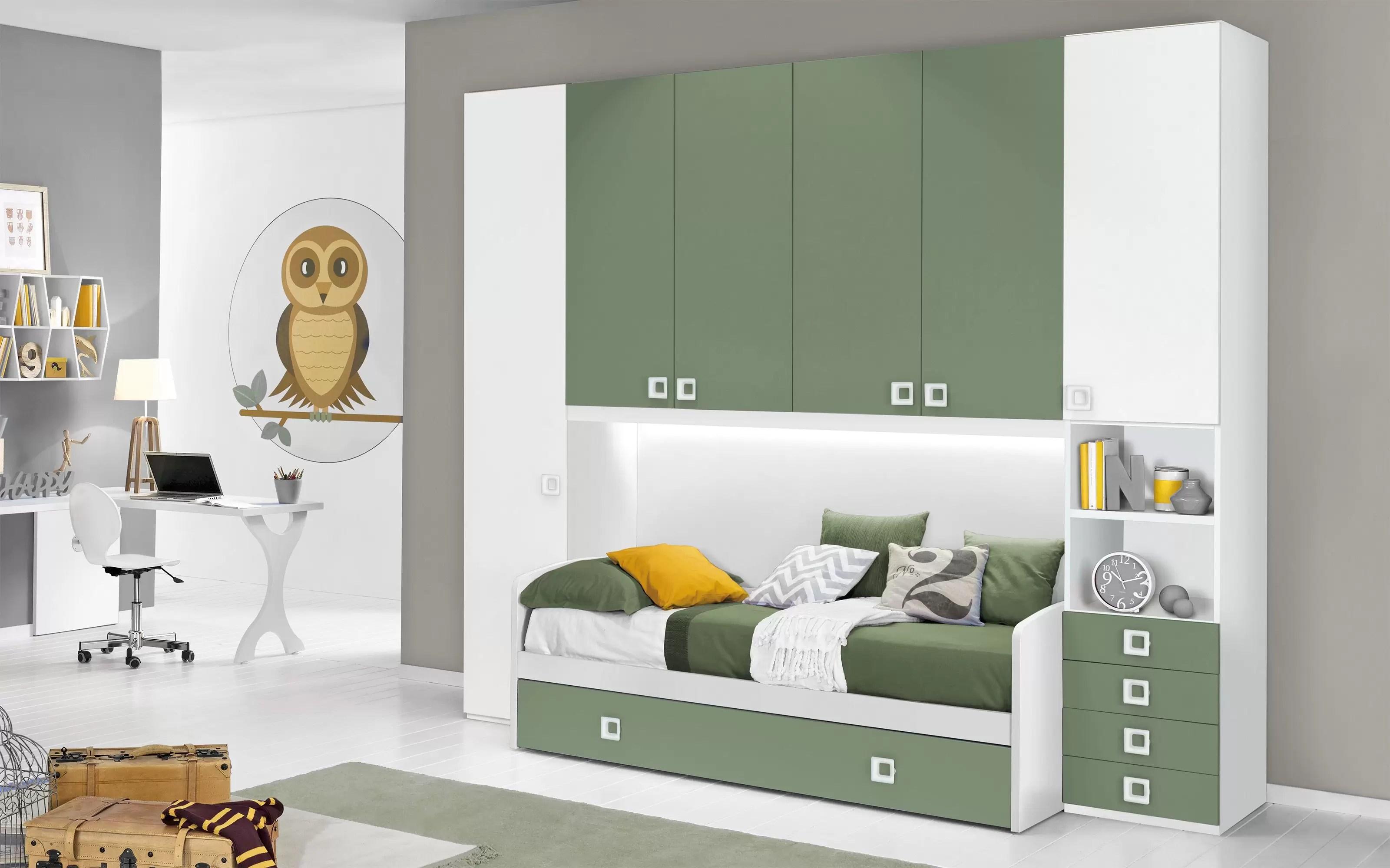 Camerette Bianche E Tortora cameretta completa a ponte - bianco, salvia (doppio letto singolo e  armadio) (cm. 300 x 96 x 259h) - dafne italian design