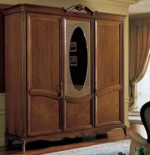 Armadio 3 ante con specchio millerighe, colore legno scuro ...