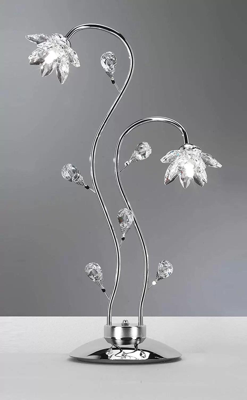 Design Lampade Da Tavolo lampada da tavolo a due luci/abat jour con cristalli - compatibile con  lampadina classe; a, a+, a++ - senza lampadine - cm. 40 x 21 x 80h - (dfl)  -