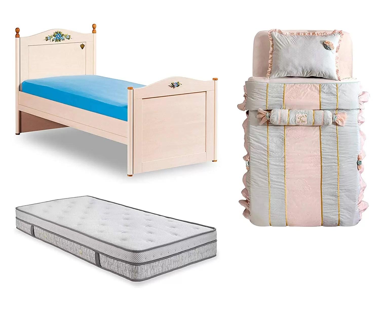 Testata In Legno Per Letto letto completo da cameretta per ragazza o bambina - letto ad una piazza -  comprende materasso e coperte - testiera in legno con decorazione floreale