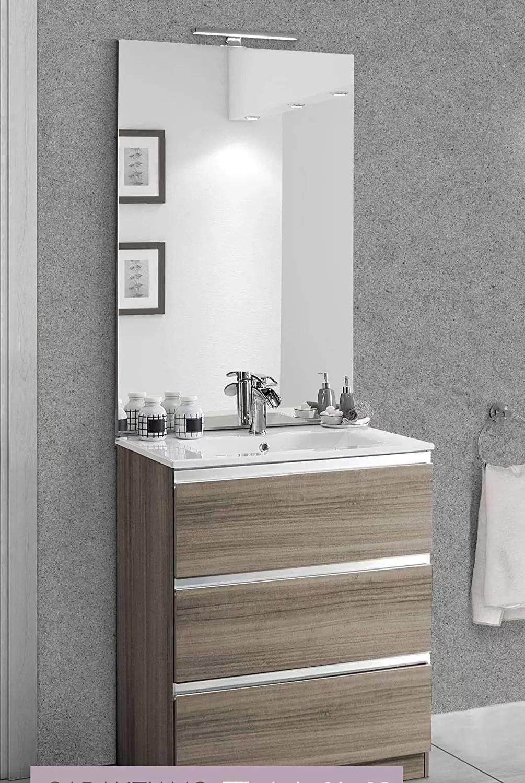 Maniglie X Mobili Da Cucina mobile da bagno con lavabo - componibile bagno 3 cassetti con maniglia a  gola, lavabo e specchio con luce a led cm. 60 x 46 x 189h mobili di  altissima