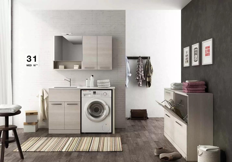 Mobile Bagno E Lavatrice mobile lavanderia lavatoio porta lavatrice con mensole e specchio - misura:  l.127 p.50 cm - finitura colore : rovere tranche' chiaro top: top lavabo