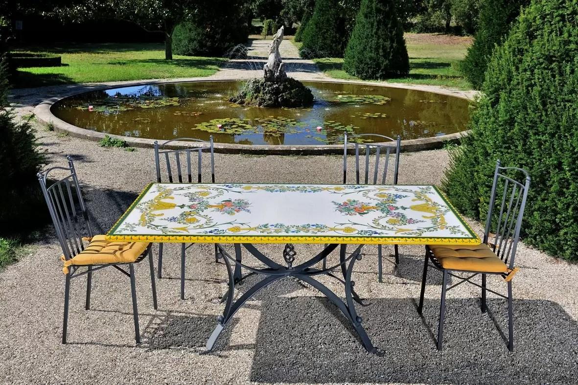 Tavoli Da Giardino Decorati.Tavolo Rettangolare 200x100 Cm Da Giardino In Pietra Lavica