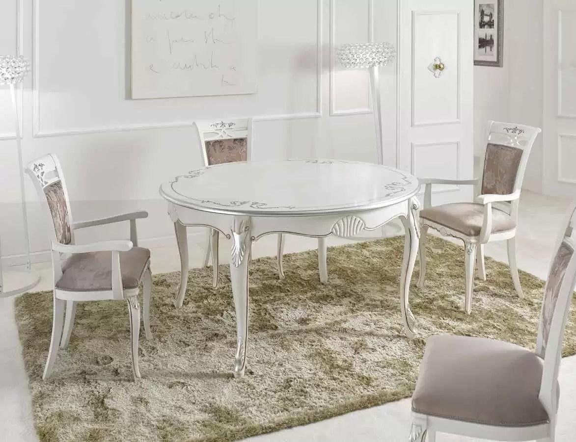 Dimensioni Tavolo Sala Da Pranzo tavolo rotondo da soggiorno e sala da pranzo, colore bianco con decorazioni  - dimensioni Ø 140 cm (allungabile 100 cm) - h 79 cm – 0,40 mc – stile