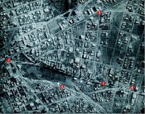 Αεροφωτογραφία της πρώτης μεταπολεμικής περιόδου. 1) Πλατεία Καλογήρων, 2) Λεωφ. Αγ. Δημητρίου, 3) Λεωφ. Βουλιαγμένης, 4) Θέση σημερινού Δημαρχείου, 5) Ρέμα Κατσιποδίου (σημερινή οδός Παπαναστασίου). Πηγή : Ιστορικό Λεύκωμα Δήμου Αγίου Δημητρίου