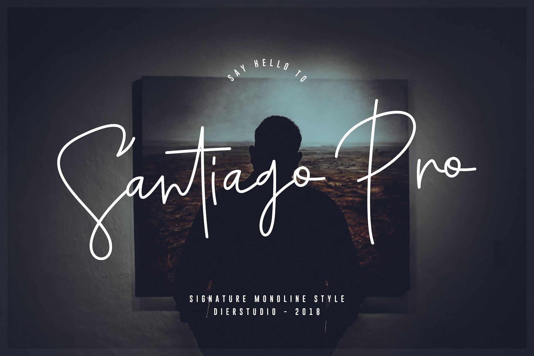 santiago-pro-signature-font
