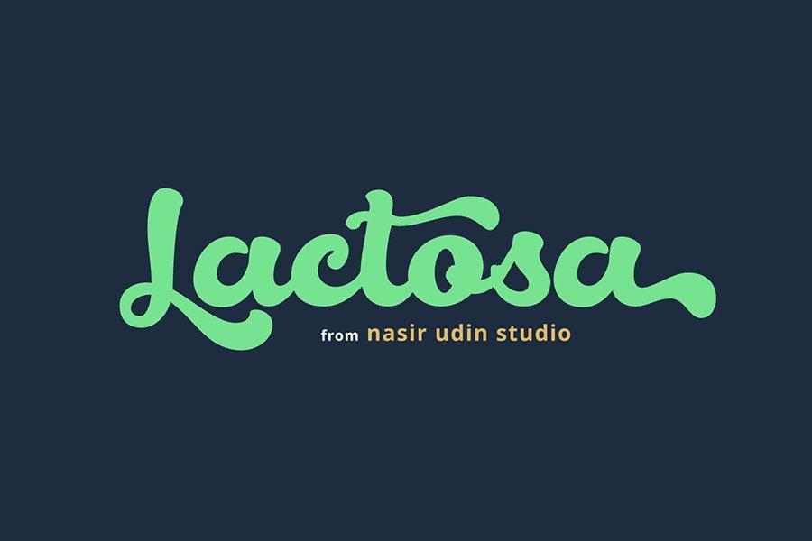 Lactosa script font promotion poster