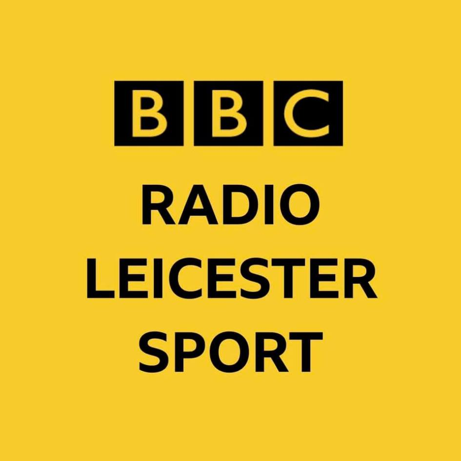 """The BBC logo is followed by the words """"radio leicester sport"""""""