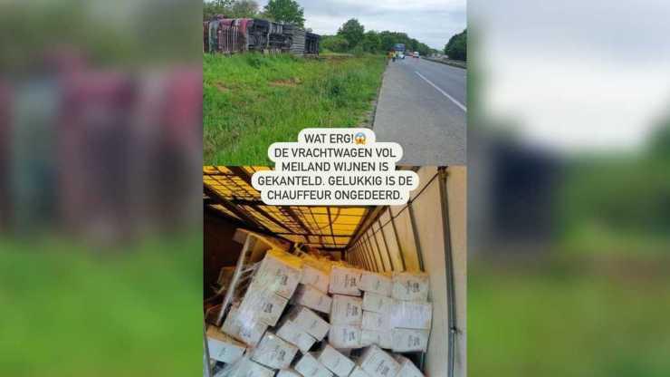 vrachtwagen Meiland wijn gekanteld