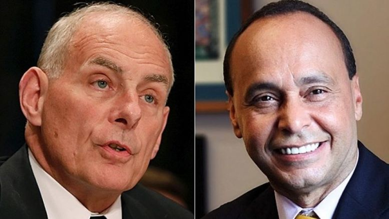 Chief of Staff John Kelly at left (Reuters); Rep. Luis Gutierrez, D-Ill., at right (Gutierrez office)
