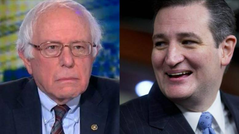Feature Photo credit to Red State and Dagger News compilation. Cruz and Sanders Twitter war on Tax Cuts for Middle Class.)