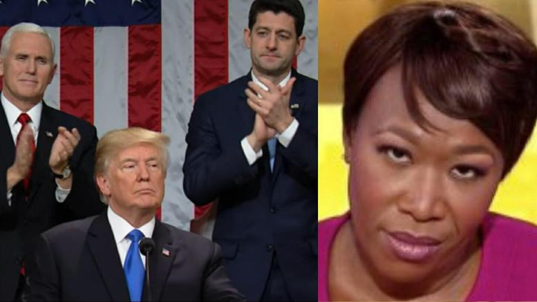Joy Reid of MSNBC gets totally owned by patriotic Americans in her twitter tirade over President Trump's SOTU speech. Photo credit to screen captures by Dagger News.