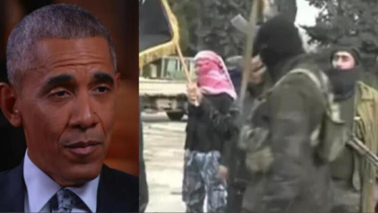 Obama administration spent tax payer money to fund Al Qaeda backed group. Photo credit to US4Trump with HBO Screen Grab, Al Jazeera Screen Grab compilation.