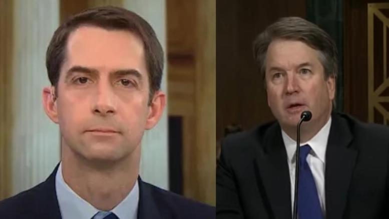 Tom Cotton tell-ALL on who started the Kavanaugh smear. Photo credit to Dagger News compilation with screen shots.