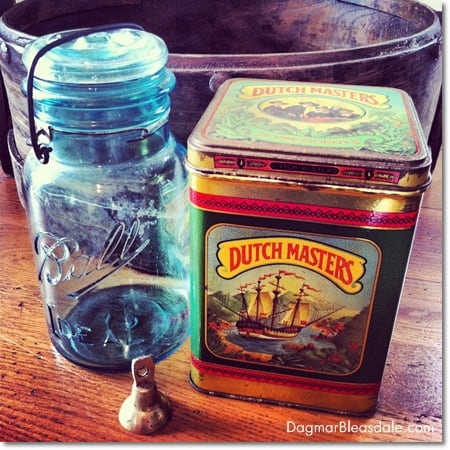 vintage wooden bucket, Ball jar, vintage tin can