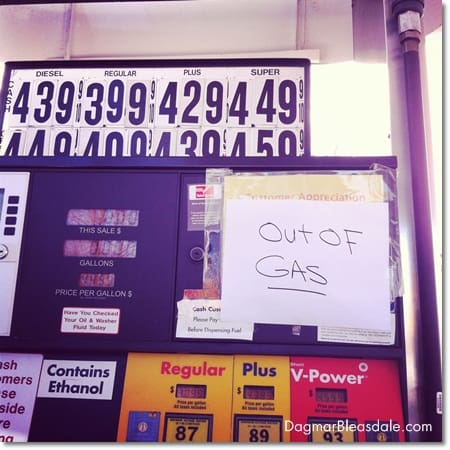 """Out of gas"" sign at gas station after Hurrican Sandy in Westchester, NY"