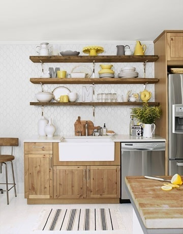 open shelving in kitchen